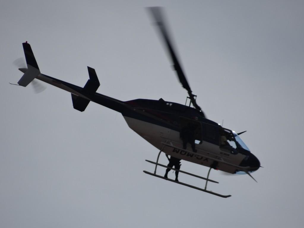 Polizei-Hubschrauber empfängt uns in Morelia